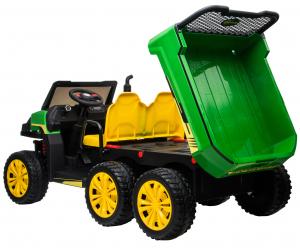 Buggy electric cu bena pentru 2 copii Premier 4x4 Hygge Truck, 6 roti cauciuc EVA, scaun piele ecologica, verde14