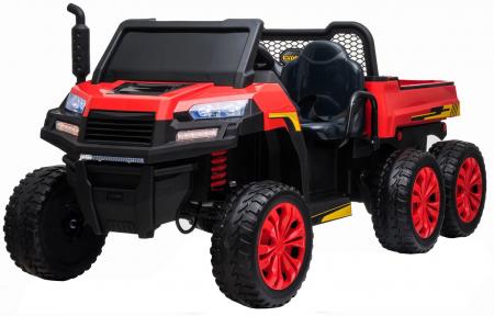 Buggy electric cu bena pentru 2 copii Premier 4x4 Hygge Truck, 6 roti cauciuc EVA, scaun piele ecologica, rosu0