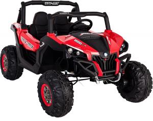 Buggy electric pentru 2 copii Premier 4x4 Superstar, cu 2 baterii, roti cauciuc EVA, scaun piele ecologica, rosu [5]