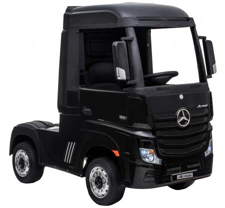 Camion electric Premier Mercedes Actros cu 2 baterii, 4x4, roti cauciuc EVA, scaun piele ecologica, negru [6]