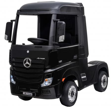 Camion electric Premier Mercedes Actros cu 2 baterii, 4x4, roti cauciuc EVA, scaun piele ecologica, negru [0]