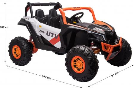 Masinuta electrica UTV Premier Dune, 24V, roti cauciuc EVA, 2 locuri, scaun piele ecologica, portocaliu [11]