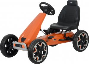 Kart Land Rover cu pedale pentru copii, roti cauciuc Eva, portocaliu0