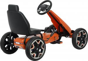 Kart Land Rover cu pedale pentru copii, roti cauciuc Eva, portocaliu2
