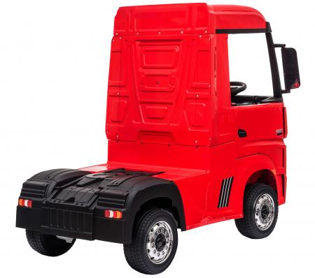 Camion electric Premier Mercedes Actros cu 2 baterii, 4x4, roti cauciuc EVA, scaun piele ecologica, rosu [5]