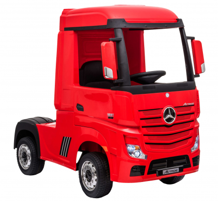 Camion electric Premier Mercedes Actros cu 2 baterii, 4x4, roti cauciuc EVA, scaun piele ecologica, rosu [6]