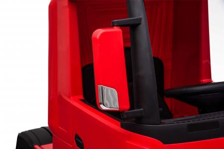 Camion electric Premier Mercedes Actros cu 2 baterii, 4x4, roti cauciuc EVA, scaun piele ecologica, rosu [8]