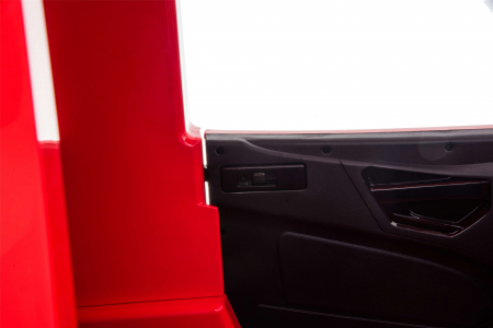 Camion electric Premier Mercedes Actros cu 2 baterii, 4x4, roti cauciuc EVA, scaun piele ecologica, rosu [14]