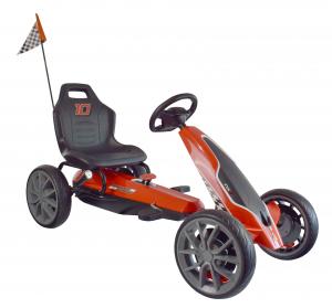 Kart Ferrari cu pedale pentru copii, roti cauciuc Eva, rosu [0]