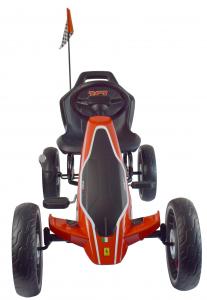 Kart Ferrari cu pedale pentru copii, roti cauciuc Eva, rosu [8]