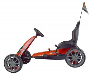 Kart Ferrari cu pedale pentru copii, roti cauciuc Eva, rosu [6]