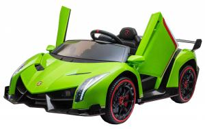 Masinuta electrica 4 x 4 Premier Lamborghini Veneno, 12V, roti cauciuc EVA, scaun piele ecologica, verde [8]