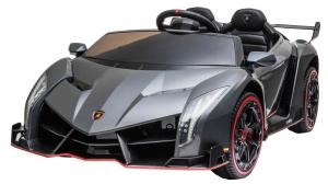 Masinuta electrica 4 x 4 Premier Lamborghini Veneno, 12V, roti cauciuc EVA, scaun piele ecologica, argintiu0