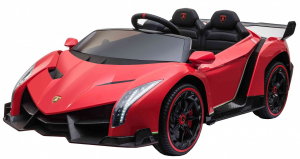 Masinuta electrica 4 x 4 Premier Lamborghini Veneno, 12V, roti cauciuc EVA, scaun piele ecologica, rosu2