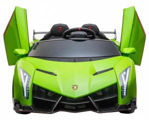 Masinuta electrica 4 x 4 Premier Lamborghini Veneno, 12V, roti cauciuc EVA, scaun piele ecologica, verde [7]