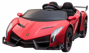 Masinuta electrica 4 x 4 Premier Lamborghini Veneno, 12V, roti cauciuc EVA, scaun piele ecologica, rosu0