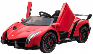 Masinuta electrica 4 x 4 Premier Lamborghini Veneno, 12V, roti cauciuc EVA, scaun piele ecologica, rosu8