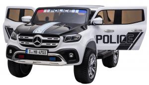 Masinuta electrica 4 x 4 Premier Mercedes X-Class Police, 12V, roti cauciuc EVA, scaun piele ecologica, alb9