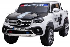 Masinuta electrica 4 x 4 Premier Mercedes X-Class Police, 12V, roti cauciuc EVA, scaun piele ecologica, alb0
