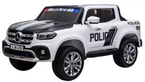 Masinuta electrica 4 x 4 Premier Mercedes X-Class Police, 12V, roti cauciuc EVA, scaun piele ecologica, alb2