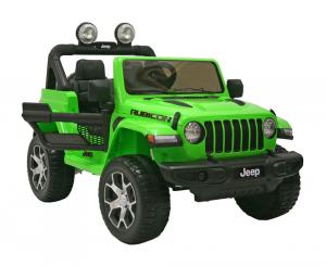 Masinuta electrica 4x4 Premier Jeep Wrangler Rubicon, 12V, roti cauciuc EVA, scaun piele ecologica, verde0
