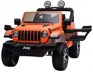 Masinuta electrica 4x4 Premier Jeep Wrangler Rubicon, 12V, roti cauciuc EVA, scaun piele ecologica, portocaliu [4]
