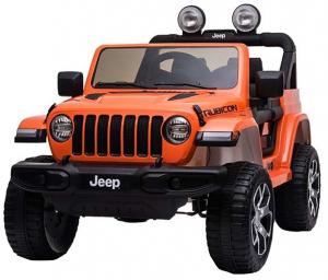 Masinuta electrica 4x4 Premier Jeep Wrangler Rubicon, 12V, roti cauciuc EVA, scaun piele ecologica, portocaliu [7]