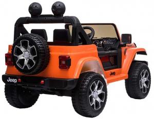 Masinuta electrica 4x4 Premier Jeep Wrangler Rubicon, 12V, roti cauciuc EVA, scaun piele ecologica, portocaliu [2]