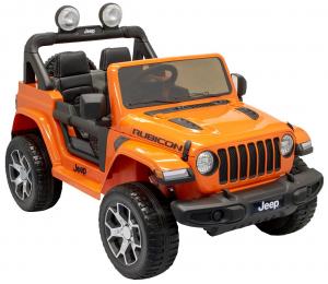 Masinuta electrica 4x4 Premier Jeep Wrangler Rubicon, 12V, roti cauciuc EVA, scaun piele ecologica, portocaliu [1]