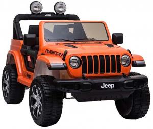 Masinuta electrica 4x4 Premier Jeep Wrangler Rubicon, 12V, roti cauciuc EVA, scaun piele ecologica, portocaliu [11]