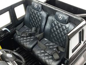 Masinuta electrica Mercedes G63 Duet 6x6, 12V, 6 roti cauciuc EVA, 6 motoare, 2 locuri, scaun piele ecologica, negru7