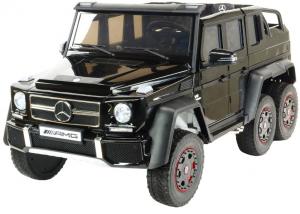 Masinuta electrica Mercedes G63 Duet 6x6, 12V, 6 roti cauciuc EVA, 6 motoare, 2 locuri, scaun piele ecologica, negru10