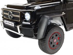 Masinuta electrica Mercedes G63 Duet 6x6, 12V, 6 roti cauciuc EVA, 6 motoare, 2 locuri, scaun piele ecologica, negru17