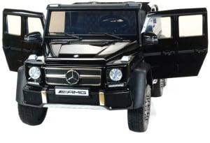 Masinuta electrica Mercedes G63 Duet 6x6, 12V, 6 roti cauciuc EVA, 6 motoare, 2 locuri, scaun piele ecologica, negru11