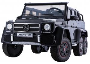 Masinuta electrica Mercedes G63 Duet 6x6, 12V, 6 roti cauciuc EVA, 6 motoare, 2 locuri, scaun piele ecologica, negru1