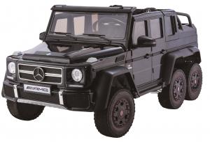 Masinuta electrica Mercedes G63 Duet 6x6, 12V, 6 roti cauciuc EVA, 6 motoare, 2 locuri, scaun piele ecologica, negru0