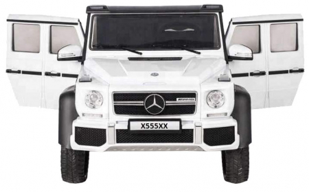 Masinuta electrica Mercedes G63 Duet 6x6, 12V, 6 roti cauciuc EVA, 6 motoare, 2 locuri, scaun piele ecologica, alb [3]