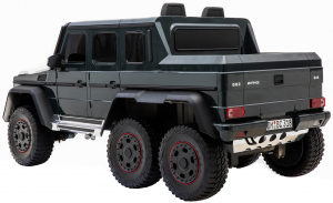 Masinuta electrica Mercedes G63 Solo, 2 baterii 12V, 6 roti cauciuc EVA, 4x4, 1 loc, 4 motoare, negru6