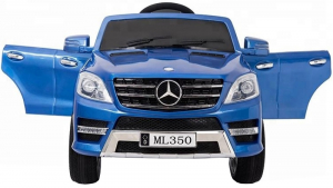 Masinuta electrica Premier Mercedes ML-350, 12V, roti cauciuc EVA, scaun piele ecologica, albastra2