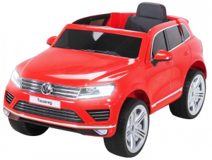 Masinuta electrica Premier Volkswagen Touareg, 12V, roti cauciuc EVA, scaun piele ecologica, rosu0