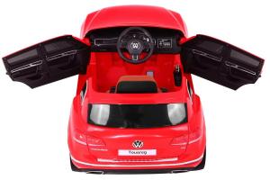 Masinuta electrica Premier Volkswagen Touareg, 12V, roti cauciuc EVA, scaun piele ecologica, rosu7