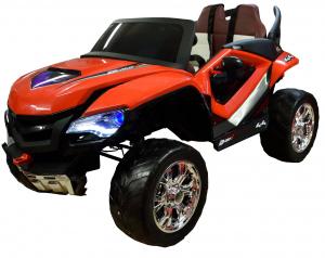 Masinuta electrica 4x4 Premier D-Max, 12V, roti cauciuc EVA, scaun piele ecologica, rosie [0]