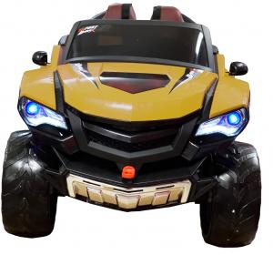 Masinuta electrica 4x4 Premier D-Max, 12V, roti cauciuc EVA, scaun piele ecologica, galben [2]