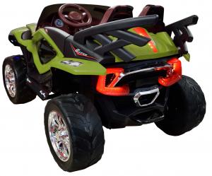 Masinuta electrica 4x4 Premier D-Max, 12V, roti cauciuc EVA, scaun piele ecologica, verde [4]
