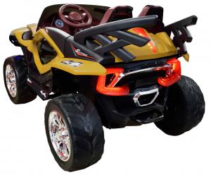 Masinuta electrica 4x4 Premier D-Max, 12V, roti cauciuc EVA, scaun piele ecologica, galben [3]