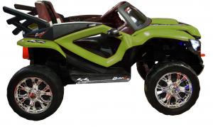 Masinuta electrica 4x4 Premier D-Max, 12V, roti cauciuc EVA, scaun piele ecologica, verde [5]