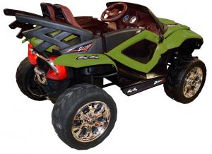 Masinuta electrica 4x4 Premier D-Max, 12V, roti cauciuc EVA, scaun piele ecologica, verde [6]