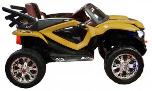 Masinuta electrica 4x4 Premier D-Max, 12V, roti cauciuc EVA, scaun piele ecologica, galben [6]