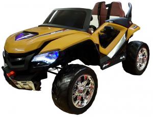 Masinuta electrica 4x4 Premier D-Max, 12V, roti cauciuc EVA, scaun piele ecologica, galben [0]