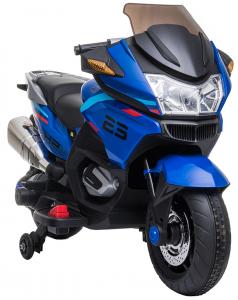 Motocicleta electrica cu 2 roti Premier Flash, 12V, roti cauciuc EVA, MP3, albastra [18]